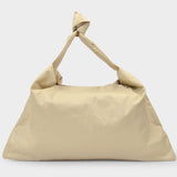 Square Small Oil Bag in Beige Synthetic Leather