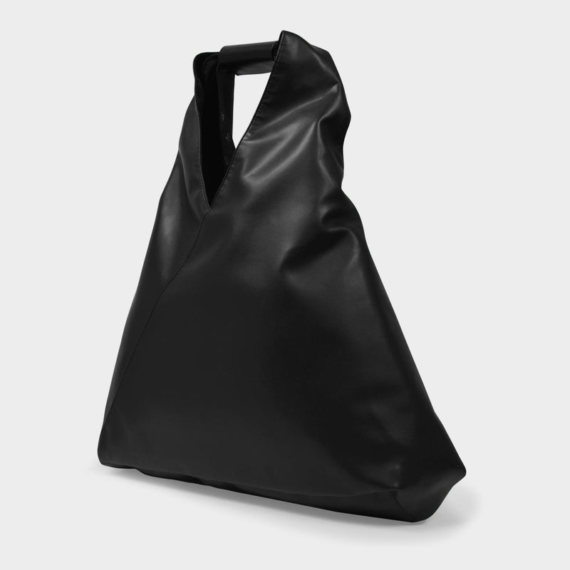 Japanese Fold Bag in Black Synthetic Leather Nappa