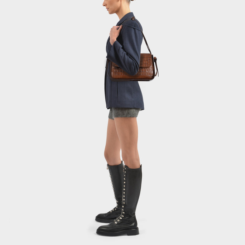 Maggie Bag in Brown Croc-Embossed Leather