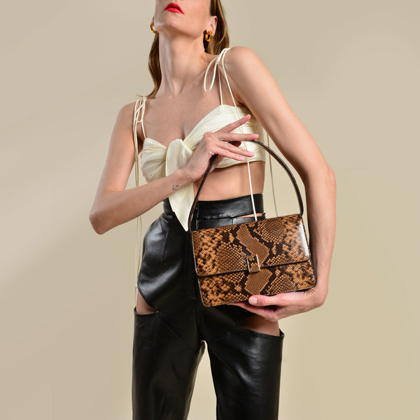 Katalina Bag in Brown Snake-Embossed Leather