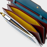 Three Compartiments Pouch in Multicolored Leather