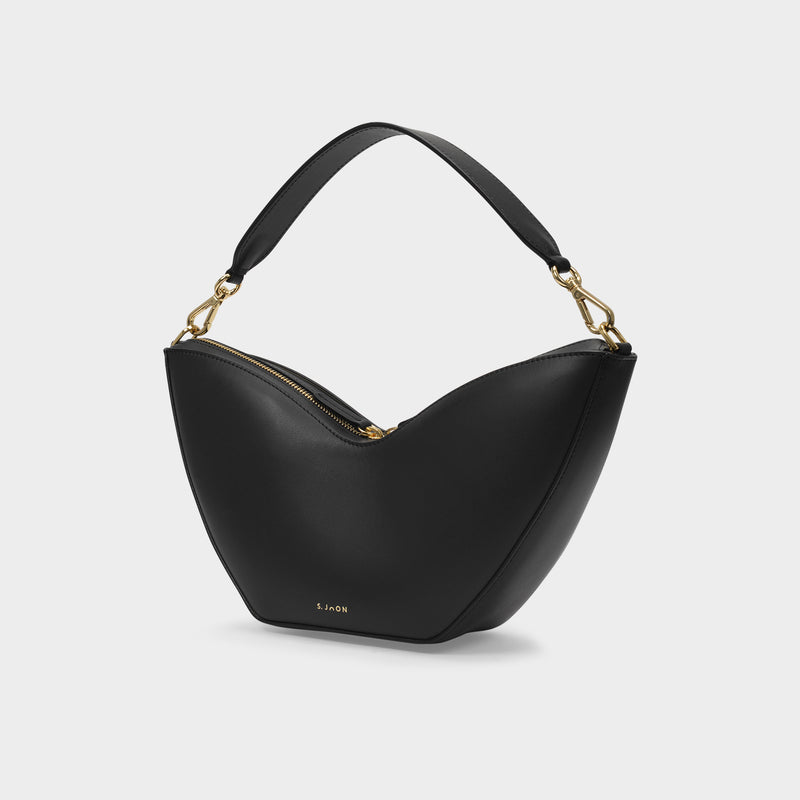 Tulip Bag in Black Smooth Leather