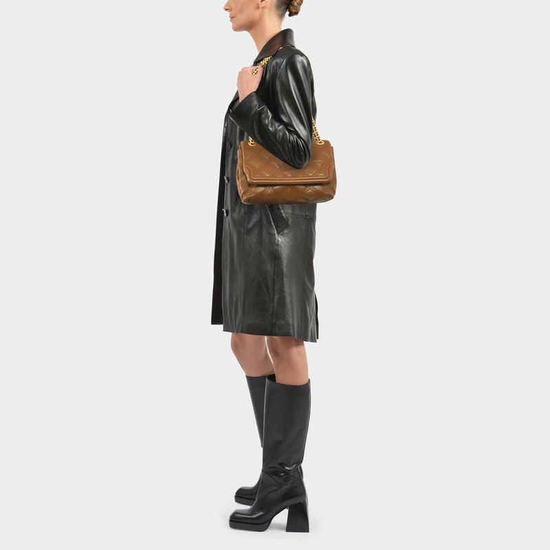 Fleming Soft Convertible Shoulder Bag in Brown Moose Leather