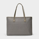 Gemini Link Canvas Top-Zip Tote in Gray Heron Leather
