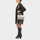 Fleming Convertible Shoulder Bag in Beige New Cream Leather