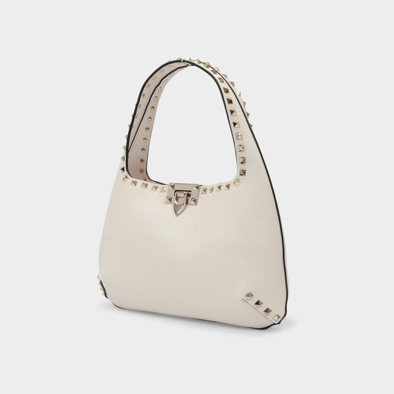 Rockstud Shoulder Bag in Light Ivory Leather