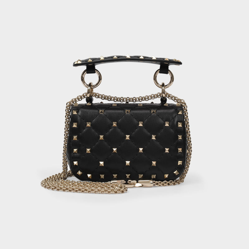 Rockstud Spike Crossbody Bag in Nero Black Leather