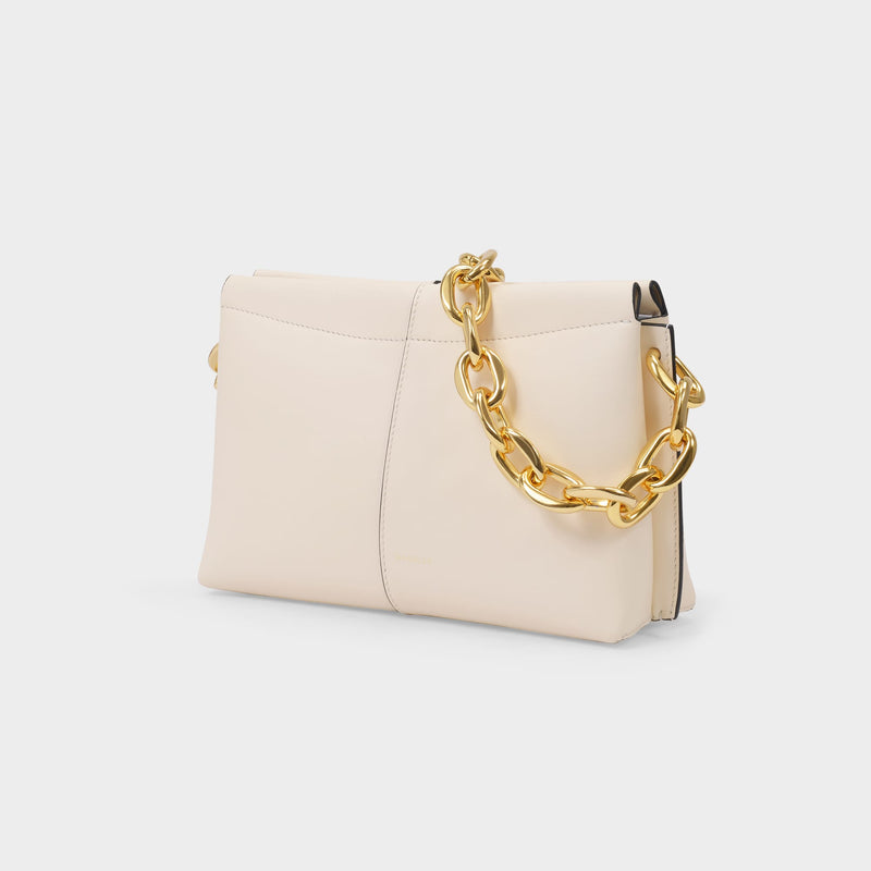 Carly Mini Heavy Chain Bag in Ivory Leather