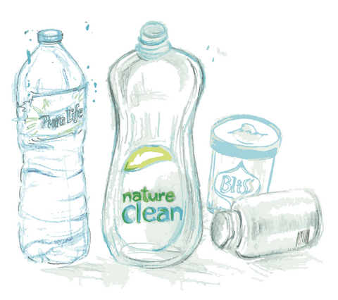 Drawings of waste, nature clean soap bottle, pure life water bottle, Bliss jar