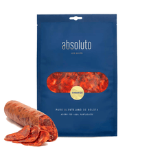 "Load image into Gallery viewer, best portuguese food - Absoluto ""Porcus Natura Project"" - Chouriço - sliced sausage - 3-4 months cured meat from black pig- 100% Belota - 100g"