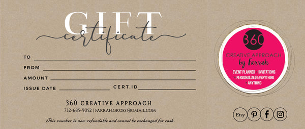 360 Creative Approach Gift Card