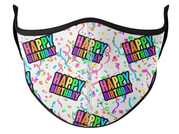 Top Trenz Happy Birthday White Face Mask - One Size Fits Most