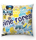 Camp Sticker Collage Pillow