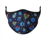 Top Trenz Hannukah Print Mask - Youth (3-7) & One Size Fits Most (8+)