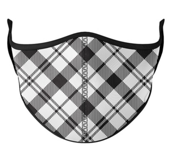 Top Trenz Black & White Plaid Print Mask - One Size Fits Most