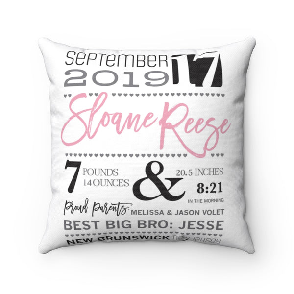 Baby Announcement Square Pillow