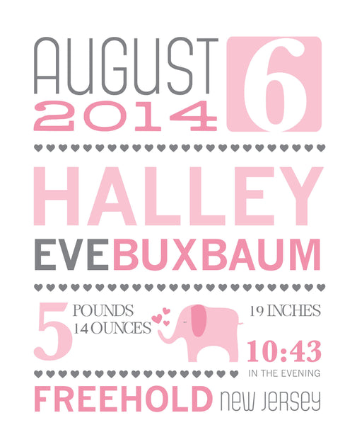 Baby Girl Announcement Print