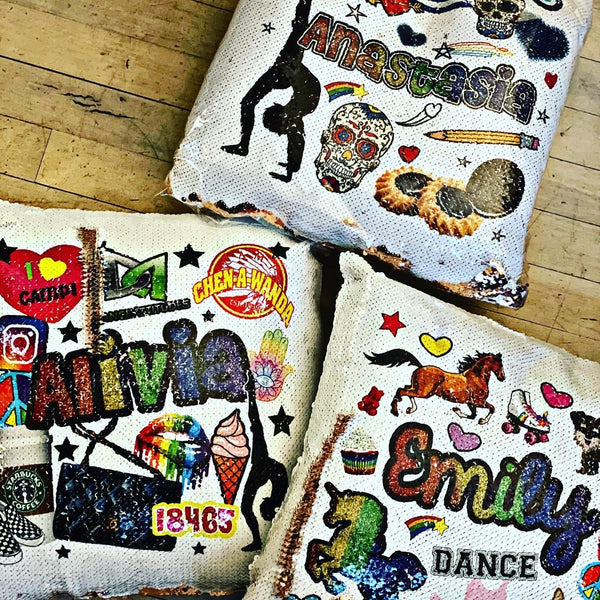 Flip - Sequin Throw Pillow Personalized!