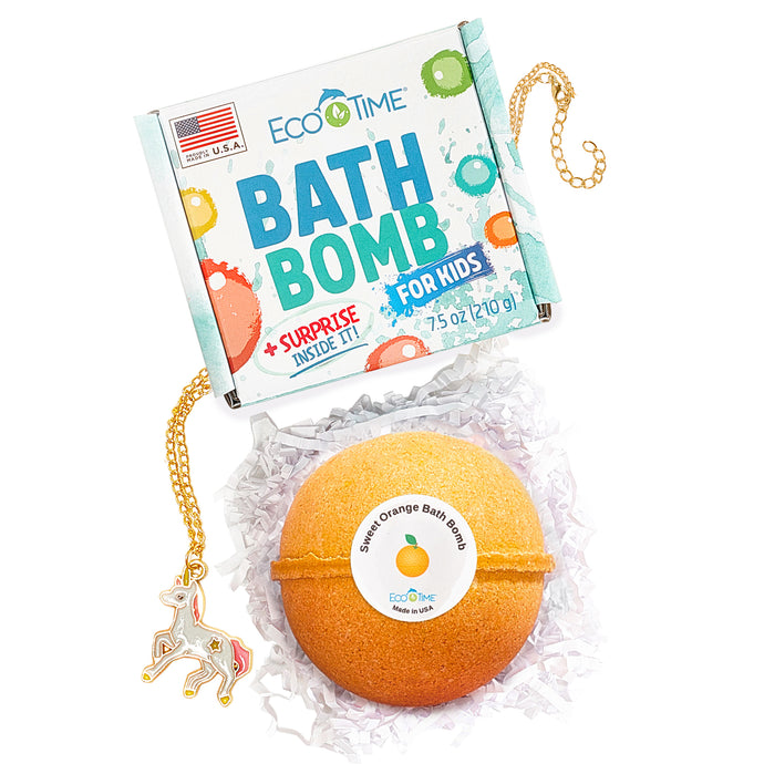 HANDMADE in USA - 7.5 oz Extra Large SWEET ORANGE Bath Bomb - Natural and Organic - Gift Idea for Women Teens Girlfriend Kids – Bubble Bombs with Moisturizing Shea Butter for Spa Bath