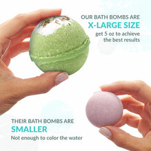 Load image into Gallery viewer, HANDMADE in USA - Bath Bombs Gift Set - 6x5oz THYME & WHITE TEA bombs - Natural and Organic - Gift Idea for Women Teens Girlfriend – Bubble Fizzies Bath Bomb with Moisturizing Shea Butter for Spa Bath