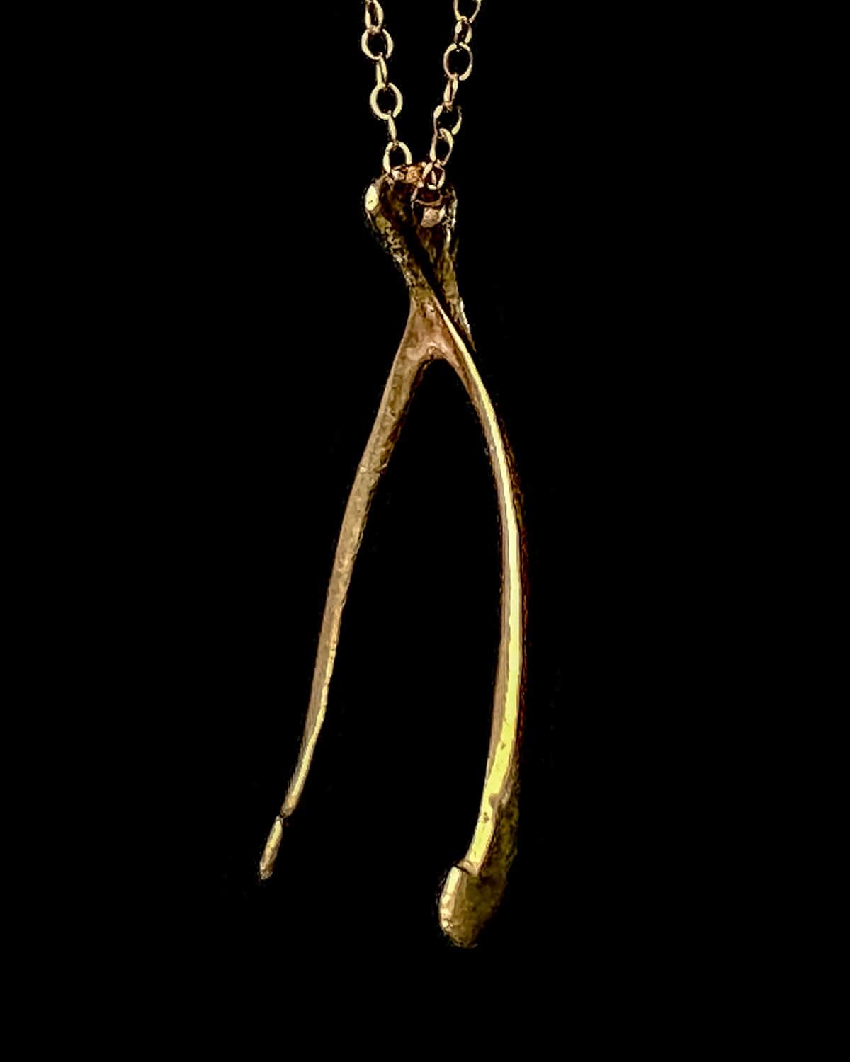 Gold Partridge Wishbone Necklace