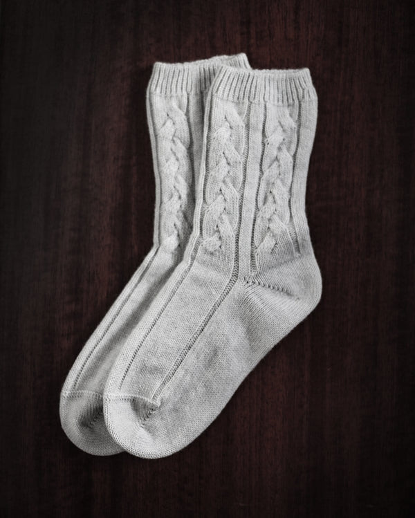 Grey Cashmere Bed Socks by Johnson of Elgin