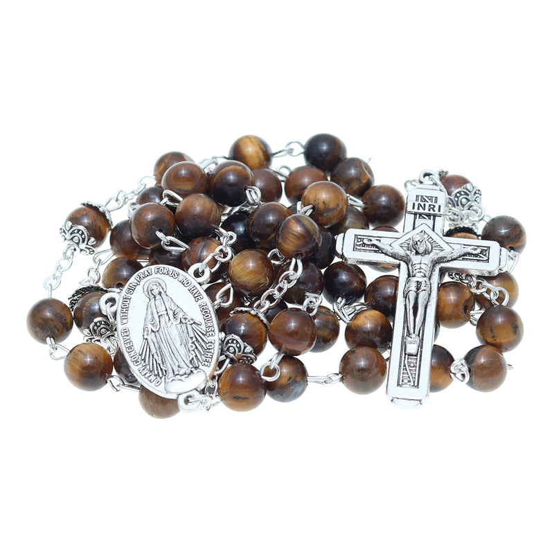 Catholic Jerusalem Rosary Necklace Tiger Eyes Beads Miraculous Medal & cross (ROSJCER-TE)