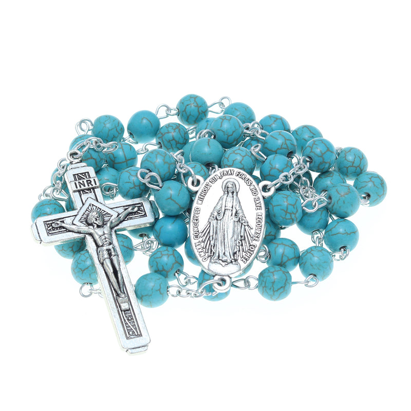 Catholic Jerusalem Rosary Necklace Blue Turquoise Beads Miraculous Medal & cross (ROSJCER-BTUR)