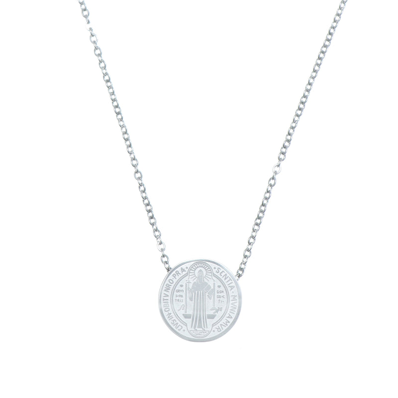 Catholic Saint Benedict Stainless Steel pendant with chain Available in Gold and Silver colors