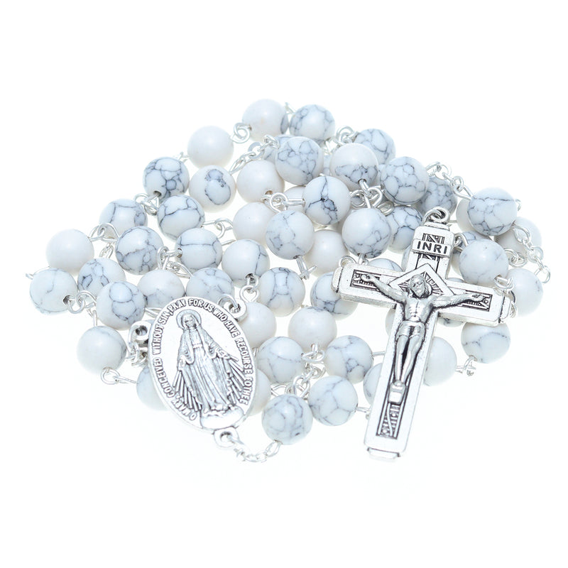 Catholic Jerusalem Rosary Necklace White Turquoise Beads Miraculous Medal & cross (ROSJCER-WTUR)