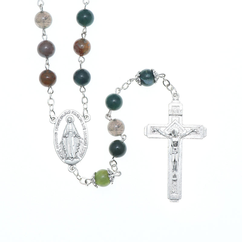 lic Jerusalem Rosary Necklace Indian Agate beads Miraculous Medal and Cross ( ROSJST-IA )
