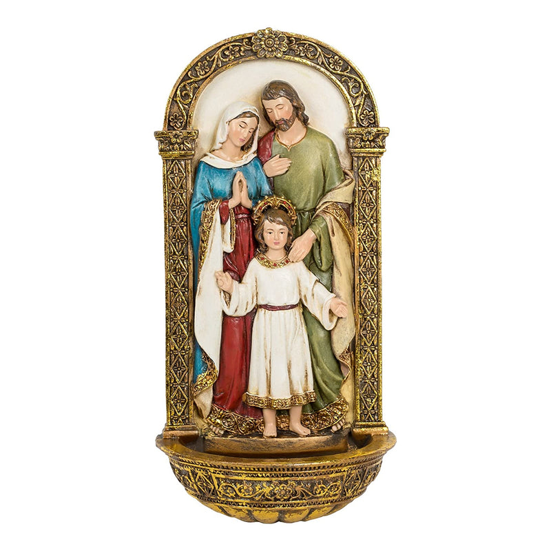 Vibrant Holy Family Gold Filigree 8 x 4 Inch Decorative Hanging Wall Figurine (A-6065047)