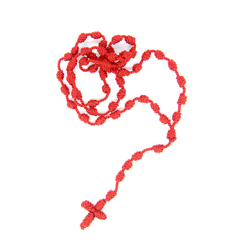 Catholic knotted cord rope rosary available in Brown and Red