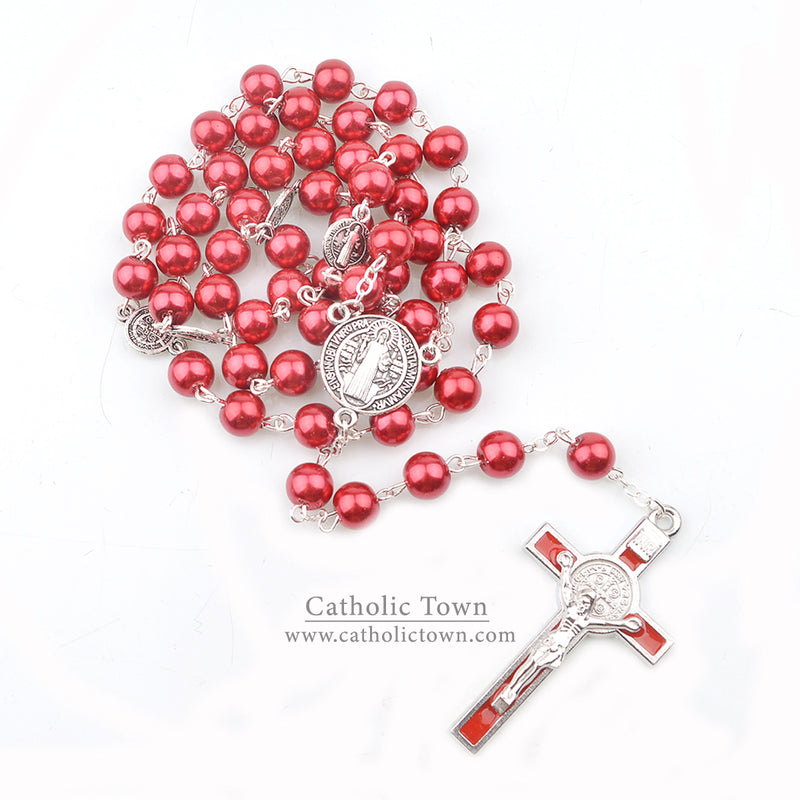 Catholic Rosary Necklace Saint Benedict Medal and Cross Crucifix