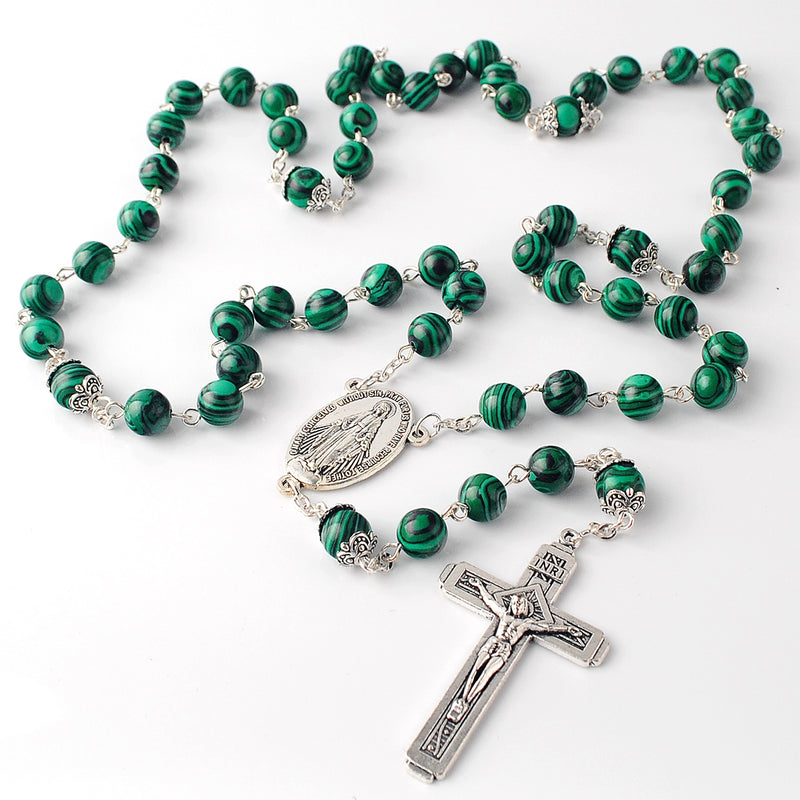 Catholic Jerusalem Rosary Necklace Malachite Beads Miraculous Medal & cross (ROSJCER-MAL)
