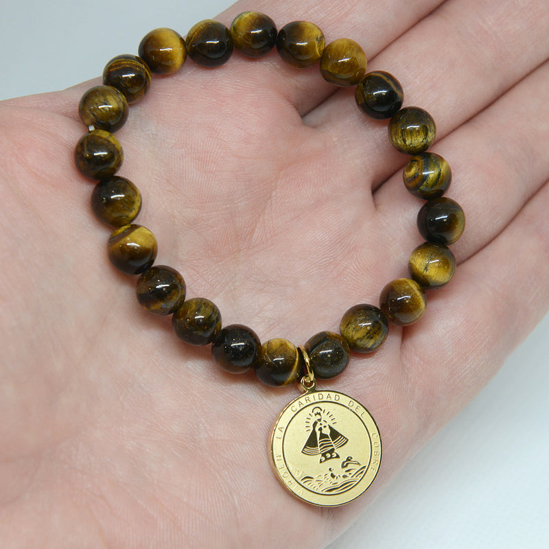 Virgen de la Caridad del Cobre Religious Catholic Bracelet with Stainless Steel Medal and Tiger eyes beads (SSBCM-BG)