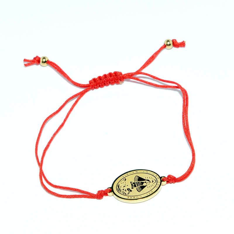 "Catholic adjustable red cord with Stainless steel ""Virgen de la Caridad del Cobre"" medal (SSBCMH-RED)"