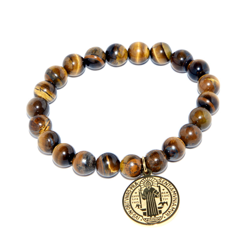 Religious Catholic Bracelet with Stainless Steel Saint Benedict Medal and Tiger eyes beads (SSBSB-BWG)