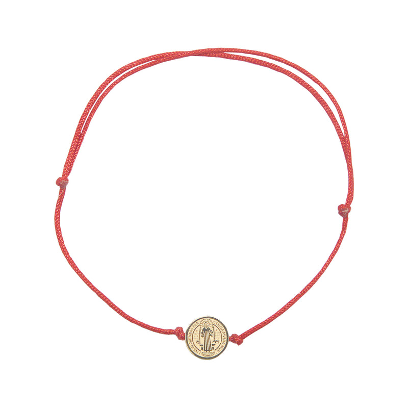 Saint Benedict Catholic inspirational adjustable red cord bracelet, available with Gold or Silver medals