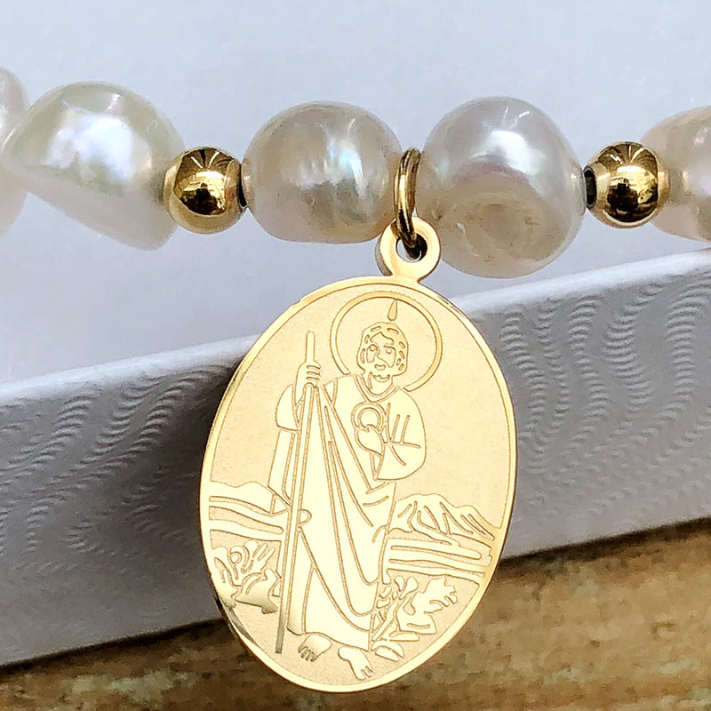 St. Jude Thaddeus Religious Catholic Bracelet with Stainless Steel Medal