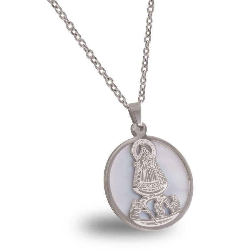 Catholic Virgen de la Caridad del Cobre Stainless Steel Medal with Chain available in Gold and Silver colors