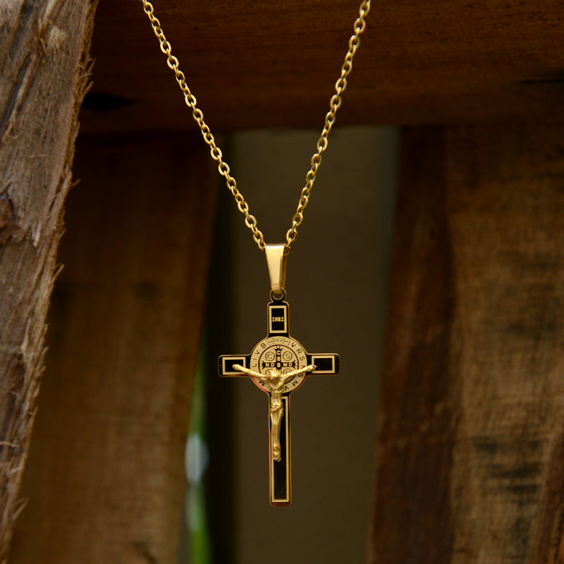 Catholic Saint Benedict Crucifix Pendant Stainless-Steel metal Available in Gold and Silver colors