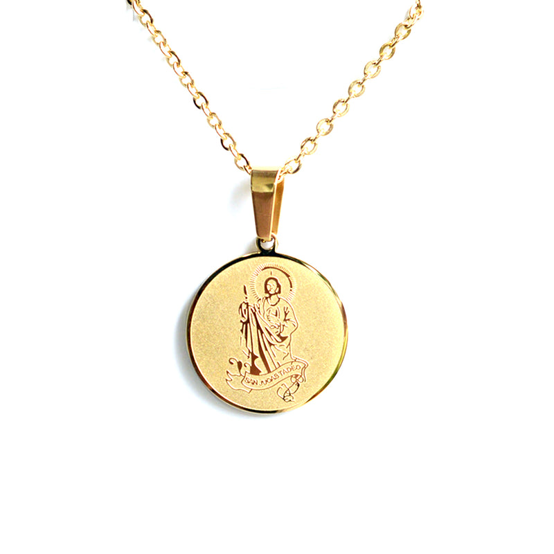 Catholic Saint Jude Thaddeus Stainless Steel medal with chain Available in Gold and Silver colors