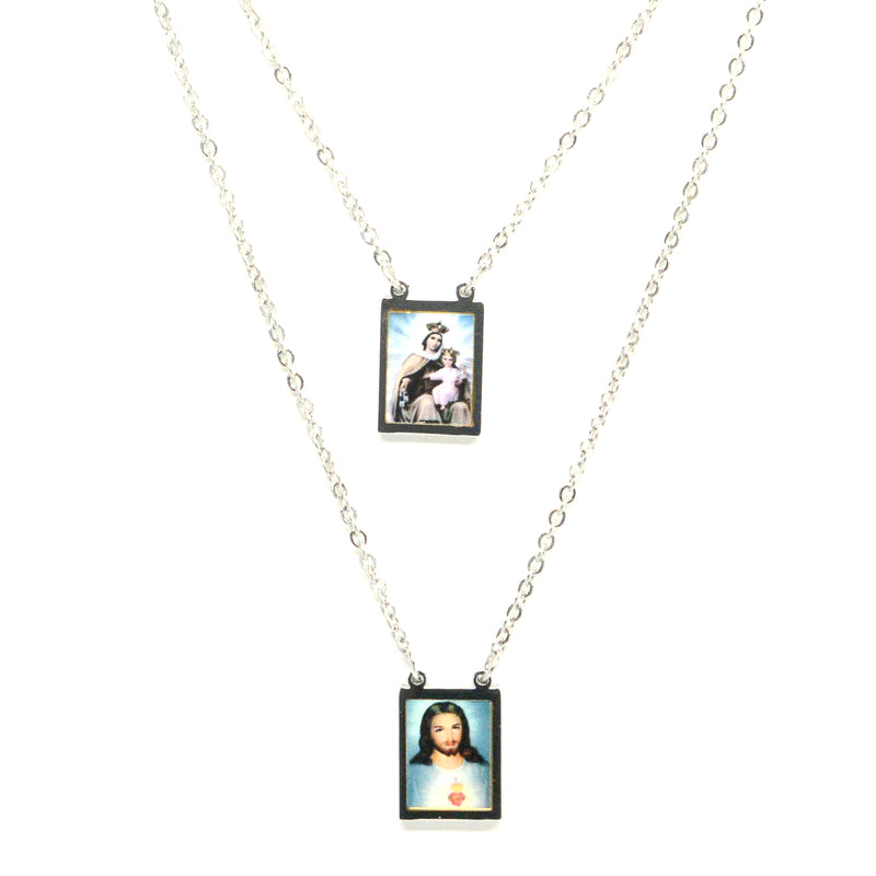 Sacred Heart of Jesus Christian and Our of Lady of Mount Carmel Stainless Steel Scapular