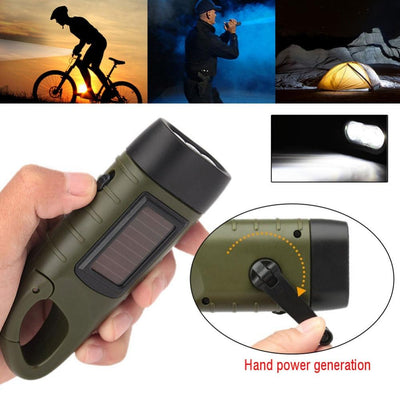 Rechargeable Flashlight with Solar Power & Hand Crank - Survivors Outlet