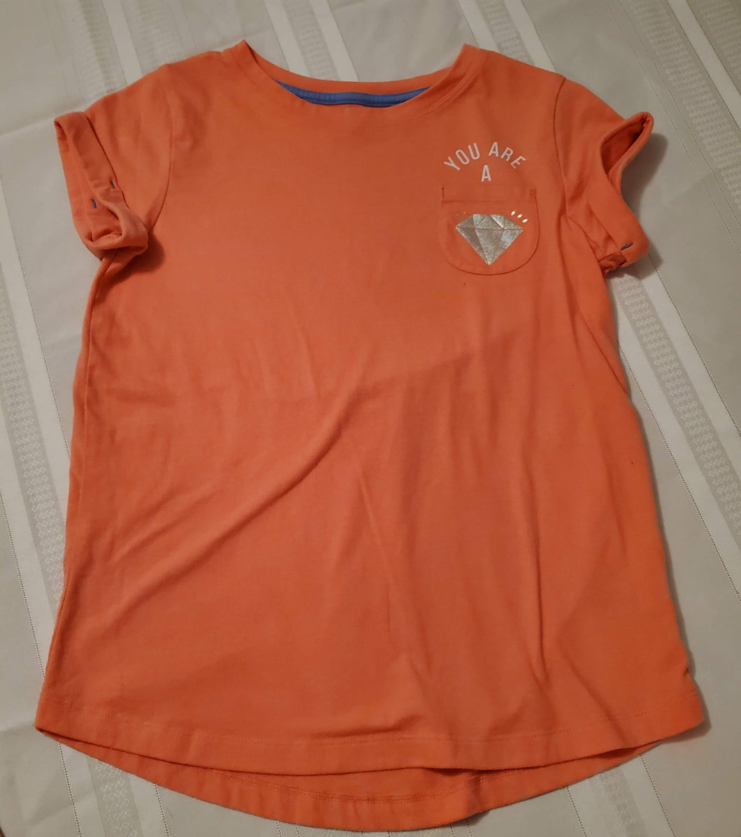 Cat and Jack Girl's SS Shirt- 10/12-ORANGE
