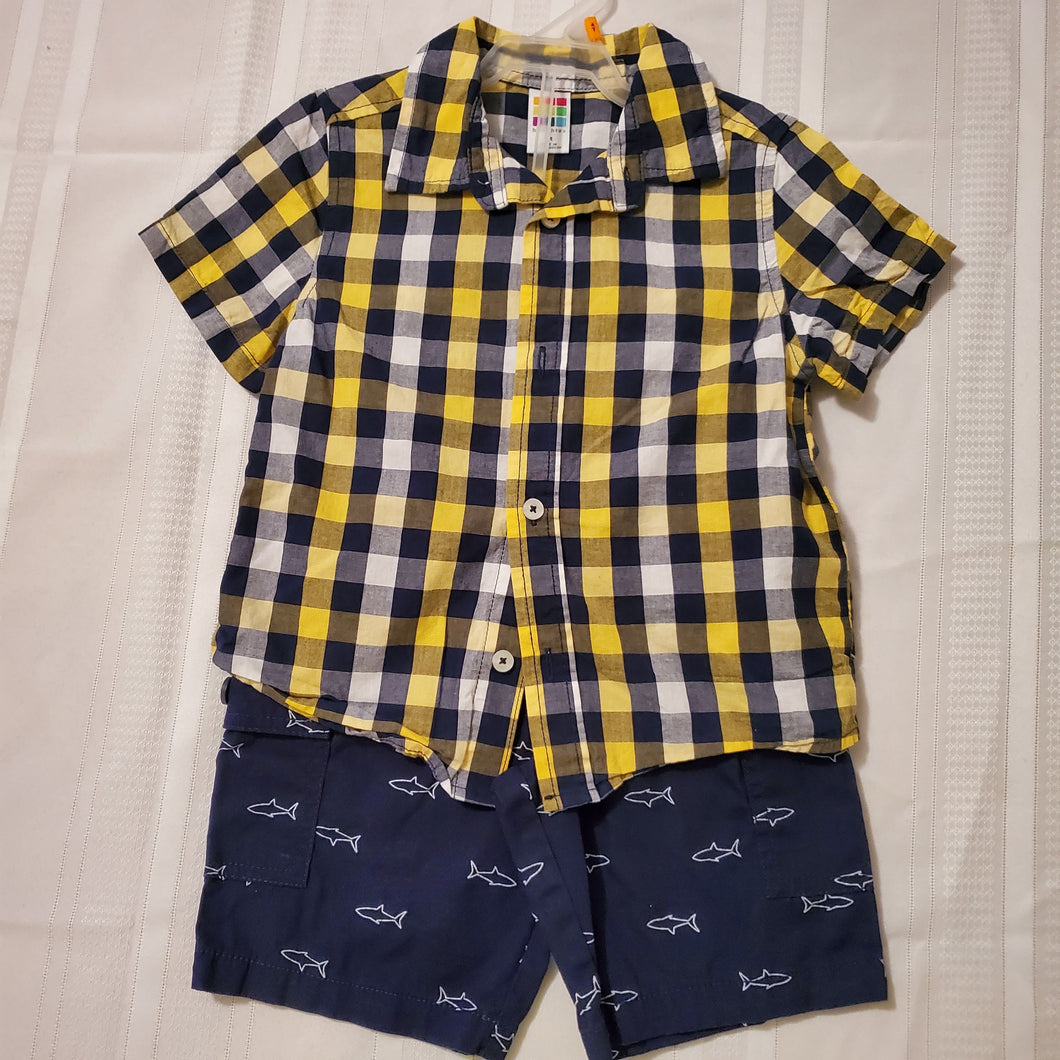 Healthtex Boy's 2pc Outfit w-Shorts-Navy/Yellow/White