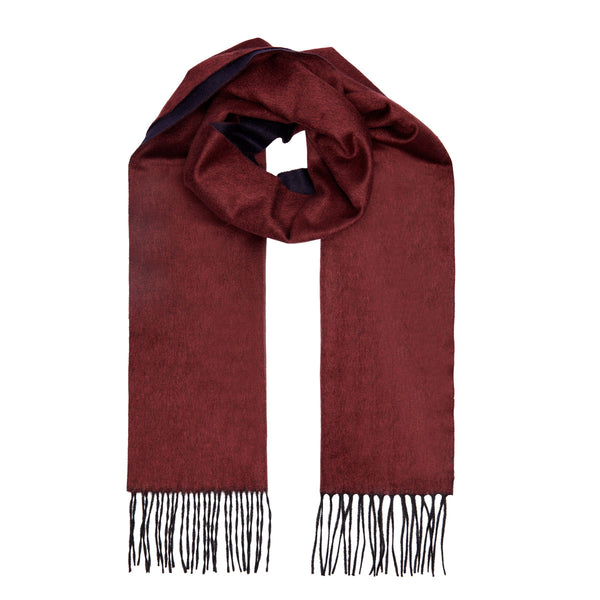 Two Toned Silk/Cashmere Fringe Scarf in Bordeaux/Navy