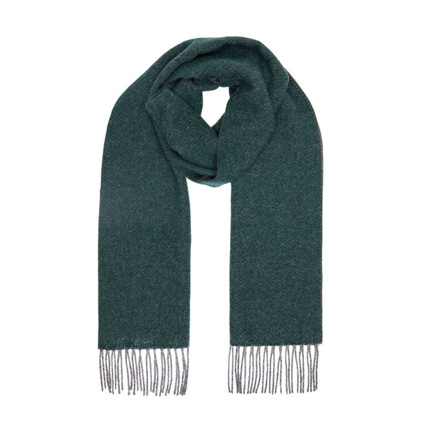 Two Toned Cashmere Fringe Scarf Forest Green/Brown
