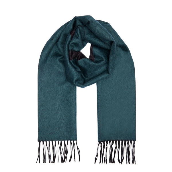 Two Toned Silk/Cashmere Fringe Scarf in Green/Charcoal